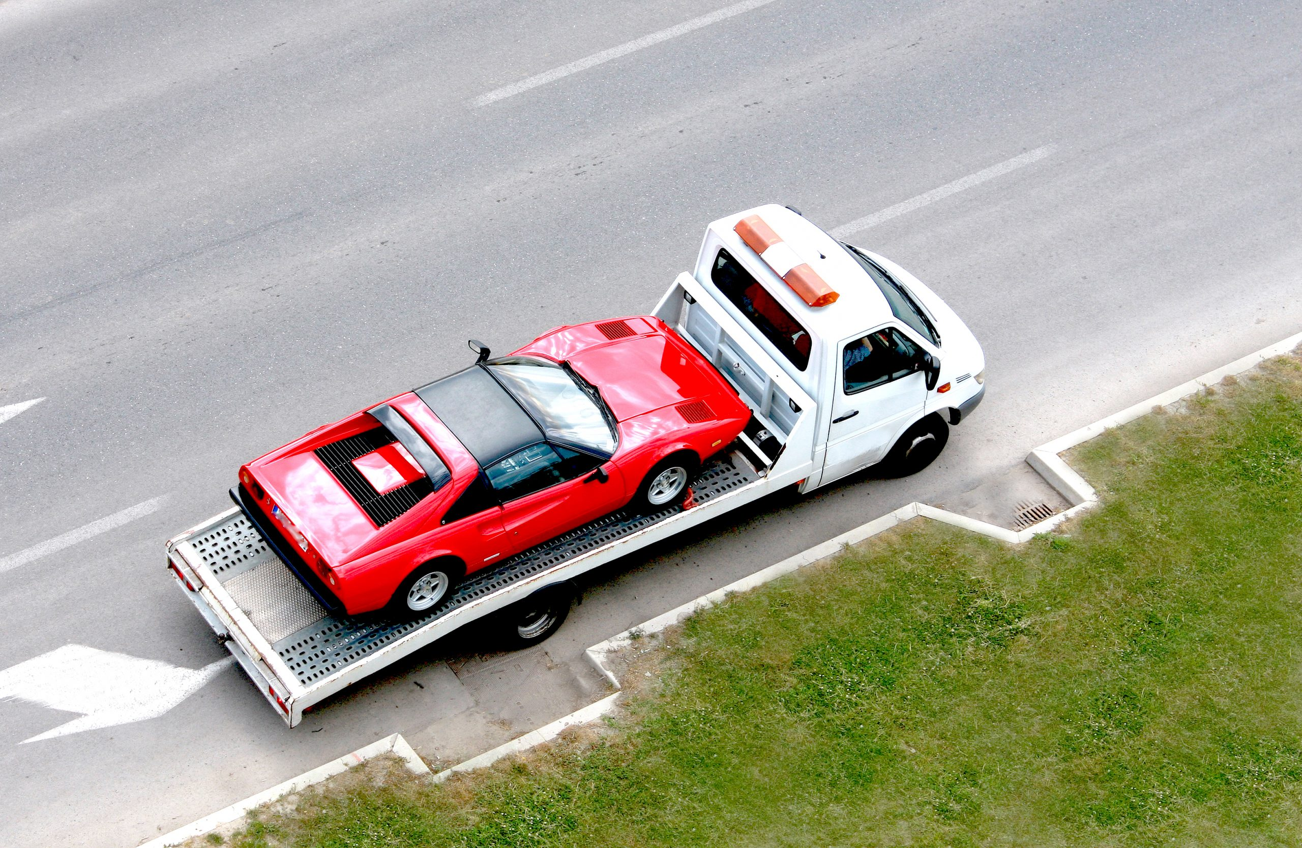 Sports car towing